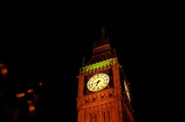 Big Ben and a black sky