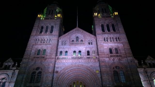 Natural History Museum London at night