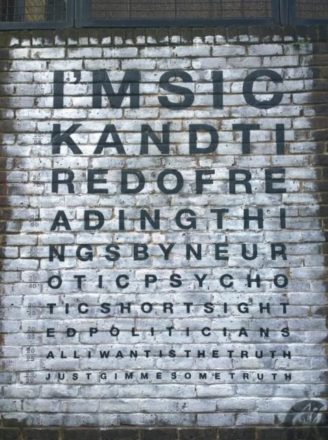 Gimme Some Truth lyrics - John Lennon - Shoreditch Street Art closeup