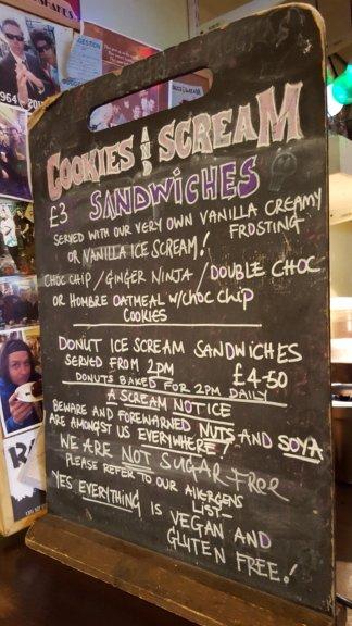 Cookies and Scream Camden menu
